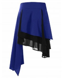 High Waist Color Blocking Layered Asymmetrical Skirt