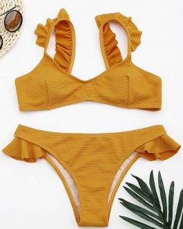 High Waist Push Up Paded Bikini Set Swimwear
