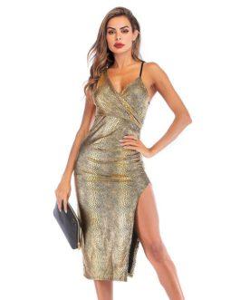 Hot Sale Women Sexy V Neck Snakeskin Print Side-slit Slip Dress
