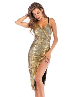 Hot Sale Women Sexy V Neck Snakeskin Print Side-slit Slip Dress