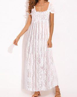 Lace Short Sleeve Square Collar Maxi Dress
