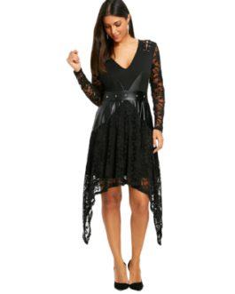 Lace Trim Crescent Hem Gothic Dress