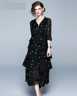 Ladies stars Print sexy fashion long mesh party dress