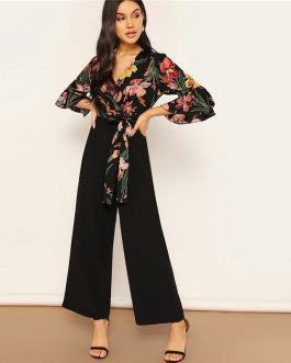 Deep V Neck Knot Hem Flounce Sleeve Workwear Jumpsuits