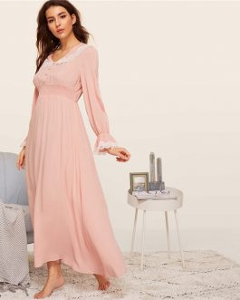 Lady Shirred Panel Lace Trim Bell Sleeve Nightgown