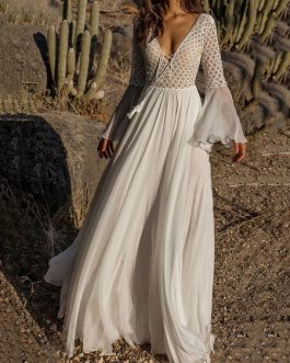 Maxi Dress Lace See Through Boho Dress Bell Sleeve Long Prom Dress