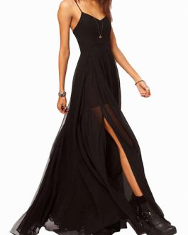 Maxi Dress Straps High Split Side Sexy Chiffon Dress