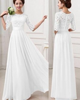 Maxi Long Dress Lace and Chiffon Women Prom Dress With Sleeves