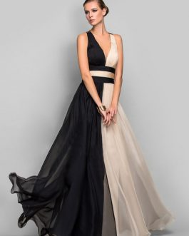 Maxi Party Dress Two Tone Chiffon Plunging Cross Back Women Formal Dress