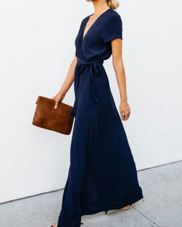 Maxi Wrap Dress Women V Neck Split Short Sleeve Long Dress