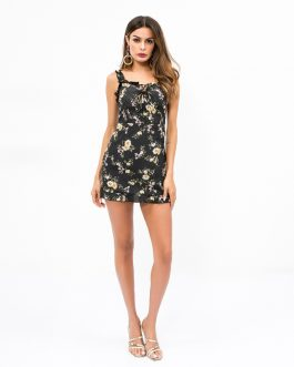 New Design Flower Print Defined Waist Mini Dress