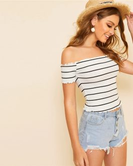 Off Shoulder Striped Fitted Crop Top Fabulous Style Slim Fit T Shirt