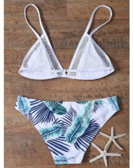Palm Print Mesh Inert Bikini