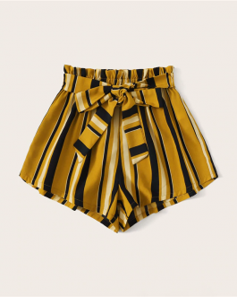 Elastic Waist Shorts Boho Ginger High Waist Culottes Shorts