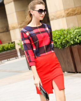 Plaids Split Front Cotton Blend Top and Skirt for Women