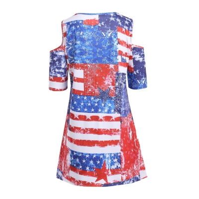 Plus Size American Flag Cold Shoulder T Shirt - Power Day Sale