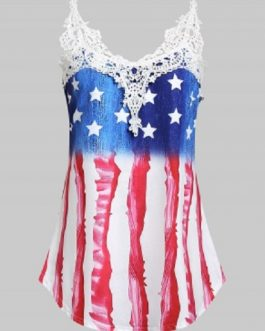 Plus Size American Flag Print Lace Insert Tank Top