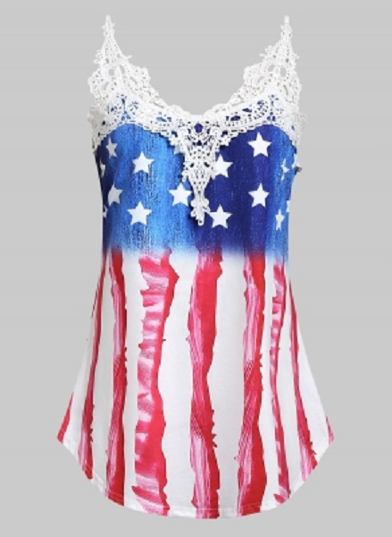 Plus Size American Flag Print Lace Insert Tank Top - Power Day Sale