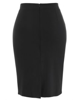 Plus Size Buttoned Detail Fitted Skirt