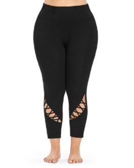 Plus Size Cutout High Waisted Ankle Leggings