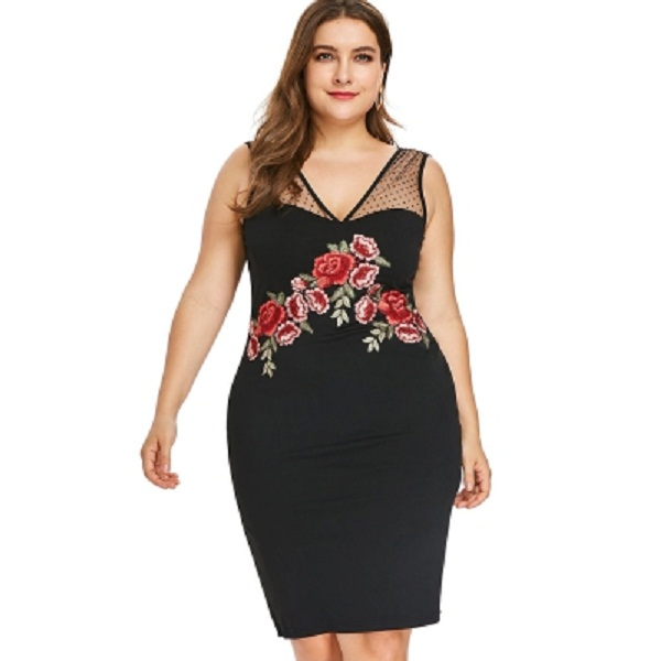 Plus Size Embroidered Mesh Insert Bodycon Dress - Power Day Sale