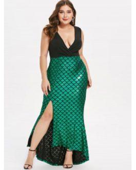 Plus Size Fish Scale Asymmetric Slit Surplice Dress