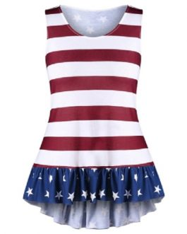 Plus Size Flounced American Flag Tank Top