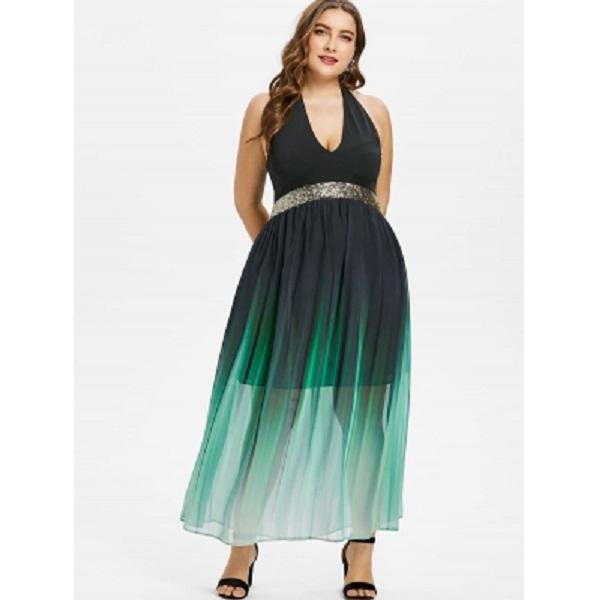 Plus Size Halter Neck Ombre Maxi Dress