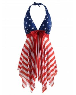 Women Plus Size Mesh Panel American Flag Tankini Set