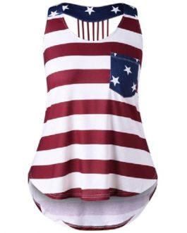Plus Size Open Back American Flag Tank Top
