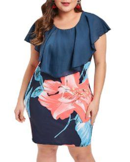 Plus Size Ruffle Floral Print Bodycon Dress