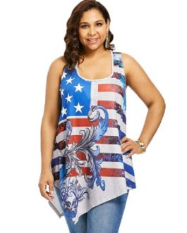 Plus Size Strappy American Flag Tank Top
