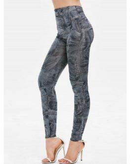 Pockets Print High Waist Pants