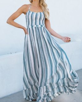 Print Vertical Striped Halter Maxi Holiday Dress