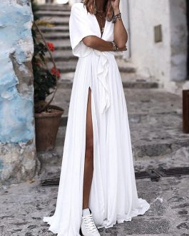 Pure Color V Neck High Split Hem Beach Long Maxi Dress