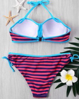 Push Up Stripe Bikini with Halter Neckline