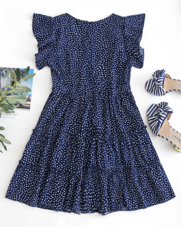 Raindrop Print Flounces A Line Dress Short Sleeves Ruffles High Waist Sexy Mini Dress