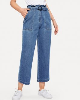 Ruffle Waist Culotte Jeans With Belt Blue High Waist Women Trousers