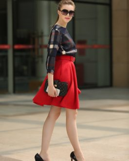 Sash Plaid Polyester Suit for Women