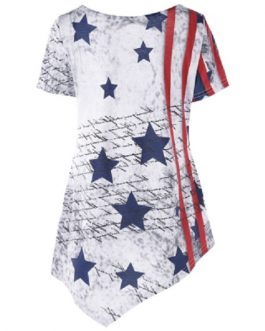 Scoop Neck American Flag T-shirt