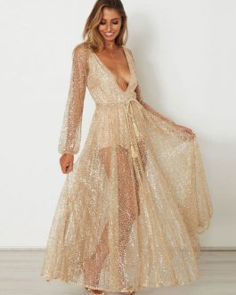 Sequin Maxi Dress Long Sleeve Semi Sheer Women's Plunging Sexy Long Dress