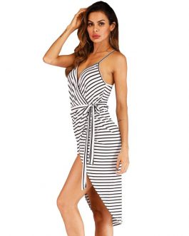 Sexy Irregular Design Stripes Pattern Slip Dress