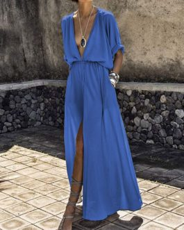 Sexy Maxi Dress Half Sleeve Plunging Neck Split Dress