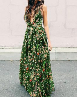 Sexy Maxi Dress Plunging Straps Backless Floral Dress