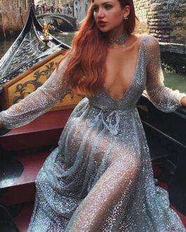 Sexy Sequin Long Sleeve Semi Sheer Maxi Dresses