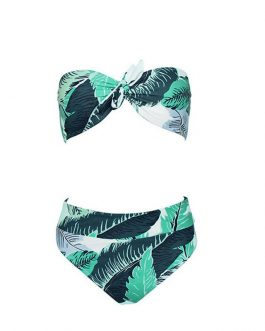 Sexy Women Strapless Push-up Padded Leaves print Bra Bandage Bikini Set