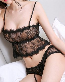 Sexy eyelash lace bra bracing set MILF Lingerie