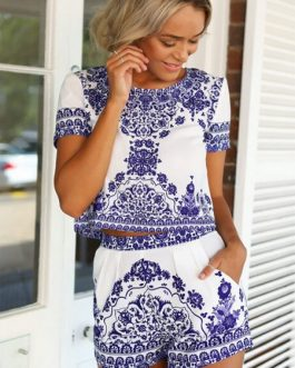 Short Sleeve Vintage Pattern Two Piece Suits