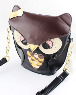 Shoulder Bag Animal Pattern Faux Leather Chain Single Strap Cute Bag For Girl