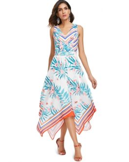 Sleeveless Plant and Stripe Print Handkerchief Dress